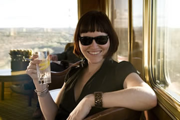 The Blue Train, South Africa - Bridget enjoying a G&T