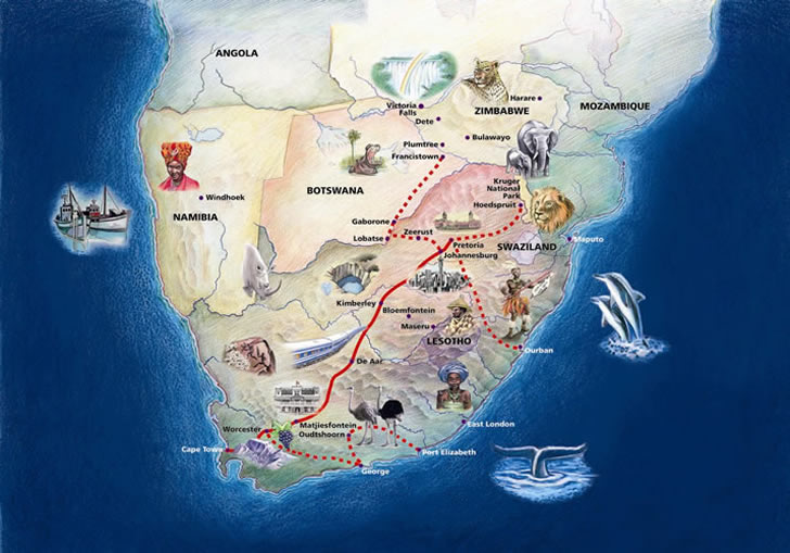 The Blue Train, South Africa - map of The Blue Train routes