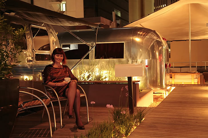 The Grand Daddy Hotel, Cape Town, Bridget McNulty outside Airstream