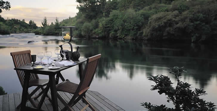 Deck over the river, Huka Lodge, New Zealand