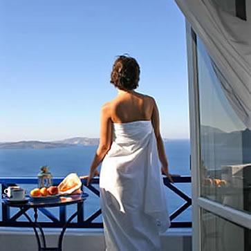 Ikies Hotel, girl gazing across the Mediterranean