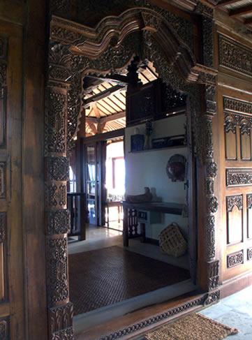 Carved walls at Villa Citakara Sari, East Bali, Indonesia