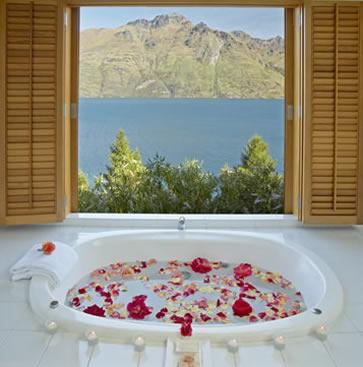 Matakauri Lodge Spa, villa bath view