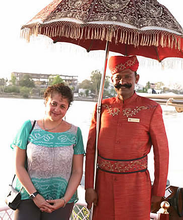 India, Udaipur, Taj Lake Hotel, doorman with Denise Hummel, photographer Steven Hummel