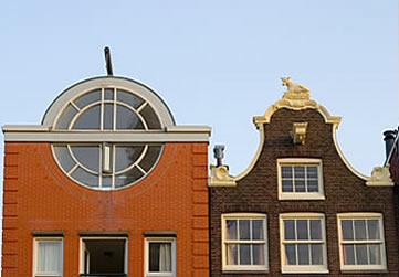 Amsterdam, modern and traditonal facades
