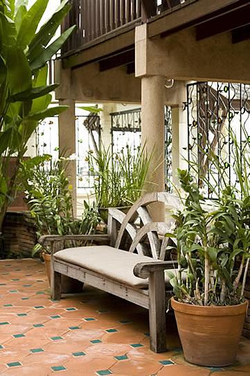 Chakrabongse Villas, Bangkok, Thailand - garden bench