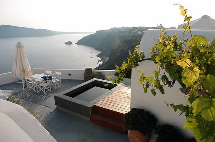 Ikies Hotel, view across the Mediterranean