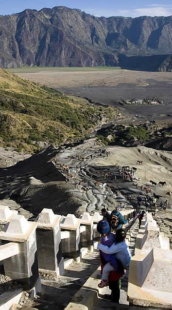 Java Banana, Wonotoro, Java, Indonesia  - stairs to Gunung Bromo Volcano